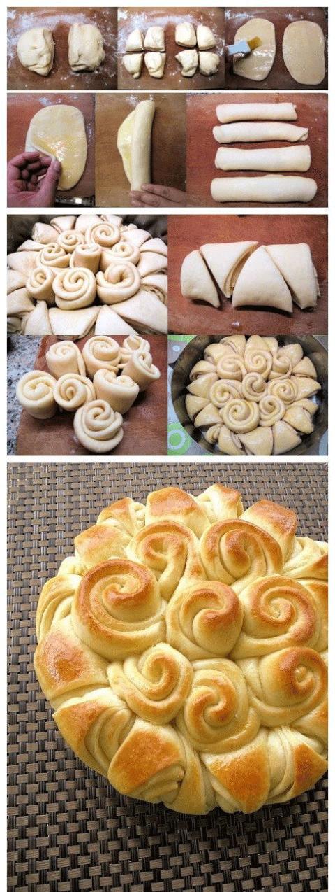 آموزش گام به گام نان به شکل گل رز