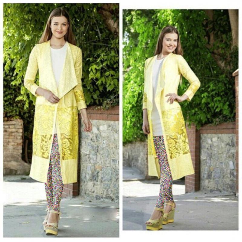 مدل مانتوی دانتلی زرد