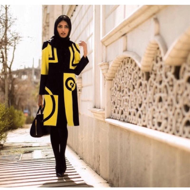 مدل مانتوی زرد و مشکی