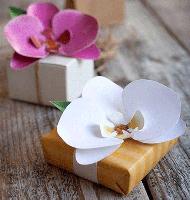 تزیین جعبه کادویی با گل های مقوایی